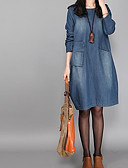 cheap Women's Dresses-Women's Chic & Modern Loose Dress - Solid Colored, Denim