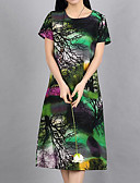 baratos Vestidos de Mulher-Mulheres Temática Asiática Algodão Evasê / Solto Vestido Sólido / Floral Médio