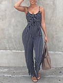 cheap Women's Jumpsuits & Rompers-Women's Daily / Going out / Club Strap Navy Blue Wide Leg Slim Jumpsuit, Striped Backless / Bow M L XL High Rise Sleeveless Spring Summer