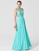 cheap Evening Dresses-Sheath / Column Jewel Neck Floor Length Lace / Jersey Cocktail Party / Prom / Formal Evening Dress with Beading / Sash / Ribbon by TS