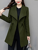 cheap Women's Coats & Trench Coats-Women's Going out Plus Size Coat - Solid Colored Shirt Collar