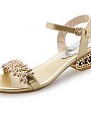 preiswerte Kleider für die Blumenmädchen-Damen Schuhe PU Sommer Komfort Sandalen Walking Niedriger Heel Offene Spitze Strass Gold / Schwarz / Silber