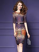 baratos Vestidos de Mulher-Mulheres Tamanhos Grandes Para Noite Moda de Rua Algodão Tubinho Vestido - Estampado Altura dos Joelhos