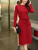 baratos Vestidos de Mulher-Mulheres Tamanhos Grandes Diário / Para Noite Casual / Moda de Rua Bainha Vestido Sólido Cintura Alta Médio