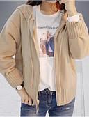 baratos Suéteres de Mulher-Mulheres Manga Longa Carregam - Sólido / Com Capuz / Primavera / Inverno