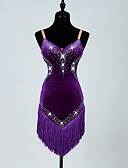cheap Latin Dancewear-Latin Dance Dresses Women's Performance Corduroy Crystals/Rhinestones Tassel Sleeveless High