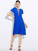 baratos Vestidos Plus Size-Mulheres Solto Vestido Sólido Altura dos Joelhos