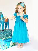 preiswerte Kleider für Mädchen-Mädchen Kleid Solide Baumwolle Polyester Sommer Kurzarm Spitze Blau