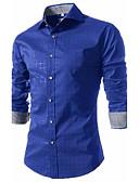 cheap Men's Shirts-Men's Party / Work Cotton Slim Shirt - Houndstooth / Long Sleeve
