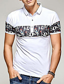 cheap Men's Polos-Men's Cotton Polo - Solid Colored Print Stand / Short Sleeve