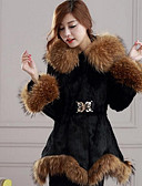 cheap Women's Fur Coats-Women's Active Fur Coat-Solid Colored