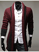 cheap Men's Sweaters & Cardigans-Men's Street chic Long Sleeves Cardigan - Solid Colored Shirt Collar