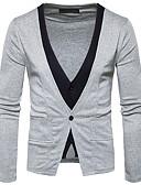 cheap Men's Tees & Tank Tops-Men's Wool Cardigan - Color Block V Neck