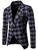 זול בלייזרים וחליפות לגברים-משובץ דש רשמי בלייזר-בגדי ריקוד גברים / שרוול ארוך / עבודה