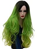 ieftine Leggings-Peruci Sintetice Pentru femei Ondulee Naturale Verde Păr Sintetic Păr Ombre Verde Perucă Lung Fără calotă Verde