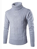cheap Men's Sweaters & Cardigans-Men's Weekend Work Street chic Long Sleeves Slim Pullover - Solid Colored Turtleneck