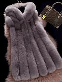 cheap Women's Fur Coats-Women's Fox Fur Vest - Solid Colored