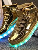 preiswerte Damen Nachtwäsche-Jungen Schuhe Kunstleder Herbst Winter Leuchtende LED-Schuhe Komfort Sneakers Walking LED Klett für Sportlich Normal Draussen Gold Weiß