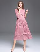 זול שמלות נשים-מידי אחיד - שמלה תחרה ליציאה / עבודה בגדי ריקוד נשים