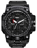 cheap Sport Watches-SMAEL Men's Sport Watch Military Watch Digital Watch Japanese Digital 50 m Water Resistant / Water Proof Calendar / date / day Chronograph PU Silicone Band Analog-Digital Casual Fashion Black / Red