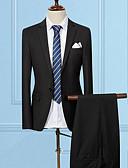 hesapli Erkek Blazerları ve Takım Elbiseleri-Erkek Pamuklu Çentik Yaka İnce Solid Suit