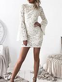 baratos Vestidos de Mulher-Mulheres Bandagem Manga Alargamento Delgado Tubinho Vestido - Vazado, Sólido Cintura Alta Mini Branco
