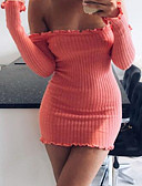 cheap Sweater Dresses-Women's Going out Cotton Bodycon / Sheath Dress - Solid Colored Backless Mini Boat Neck / Sexy / Skinny