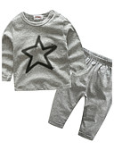 cheap Baby Girls' Clothing Sets-Baby Children's Sport Outdoor Casual/Daily Sports Clothing Set, Cotton Spring/Fall Cartoon Long Sleeves Gray