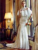 preiswerte Hochzeitskleider-Trompete / Meerjungfrau Sweetheart Hof Schleppe Überall Spitze Maßgeschneiderte Brautkleider mit Applikationen / Knöpfe durch LAN TING