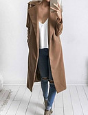 cheap Women's Coats & Trench Coats-Women's Coat - Solid, Pure Color Shirt Collar