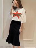 preiswerte Damen zweiteilige Anzüge-Damen Ausgehen T-shirt - Solide / Buchstabe & Nummer Rock / Frühling