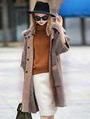 olcso Női hosszú kabátok és parkák-Napi Alkalmi Vintage Kapucni Női Szokványos Kabát Színes Tél Ősz Poliészter Angoragyapjú