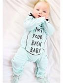 baratos Macacões & Bodies de Bebê-bebê Para Meninos Estampado Manga Longa Algodão Jardineira & Macacão Azul Claro / Bébé