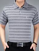 baratos Pólos Masculinas-Homens Polo - Esportes / Trabalho Activo Listrado Algodão Colarinho de Camisa / Manga Curta