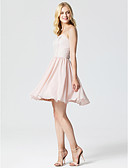 cheap Cocktail Dresses-Princess Sweetheart Neckline Short / Mini Chiffon / Lace Cocktail Party / Homecoming / Prom Dress with Pleats by TS Couture® / Open Back