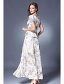 baratos Vestidos de Mulher-Mulheres Moda de Rua Blusa - Estampado Saia / Primavera / Verão