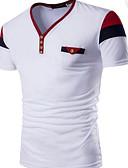 baratos Camisetas & Regatas Masculinas-Homens Camiseta Activo Patchwork, Estampa Colorida Algodão Decote V Delgado / Manga Curta