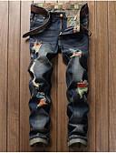 baratos Calças e Shorts Masculinos-Homens Algodão Reto / Delgado / Jeans Calças - Jeans Estampado