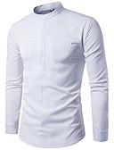 baratos Camisas Masculinas-Homens Camisa Social - Trabalho Sólido Algodão Colarinho Clerical / Manga Longa