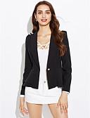 cheap Women's Blazers-Women's Work Plus Size Blazer-Solid Color,Ruffle / Spring / Fall