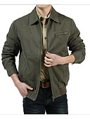 cheap Men's Tees & Tank Tops-Men's Daily Simple / Casual Spring / Fall Short Denim Jacket, Solid Colored Peaked Lapel Long Sleeve Cotton / Others Camel / Army Green XL / XXL / XXXL