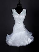 cheap Women's Blouses-Latin Dance Dresses Women's Performance Spandex Pearl Organza Crystals / Rhinestones Sleeveless High Dress