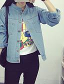 cheap Women's Denim Jackets-Women's Cotton Denim Jacket - Solid Colored Shirt Collar / Spring / Fall