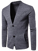 cheap Men's Sweaters & Cardigans-Men's Weekend Long Sleeves Slim Cardigan - Solid Colored V Neck
