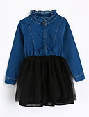 cheap Girls' Clothing-Girls' Color Block Blouse, Cotton Fall Long Sleeves Blue