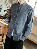 cheap Men's Shirts-Men's Chinoiserie Plus Size Cotton Slim Shirt - Solid Colored Standing Collar / Long Sleeve