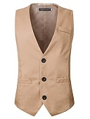 cheap Men's Blazers & Suits-Men's Cotton Vest - Solid Colored