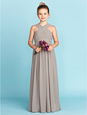 cheap Junior Bridesmaid Dresses-A-Line / Princess V Neck Floor Length Chiffon Junior Bridesmaid Dress with Sash / Ribbon / Criss Cross by LAN TING BRIDE® / Wedding Party / Open Back