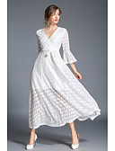 baratos Vestidos Femininos-Mulheres Rendas Vestido Sólido Decote V Longo