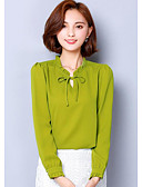 cheap Women's Shirts-Women's Going out Sophisticated Blouse - Solid Colored Crew Neck